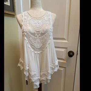 Free People Layers of lace tank